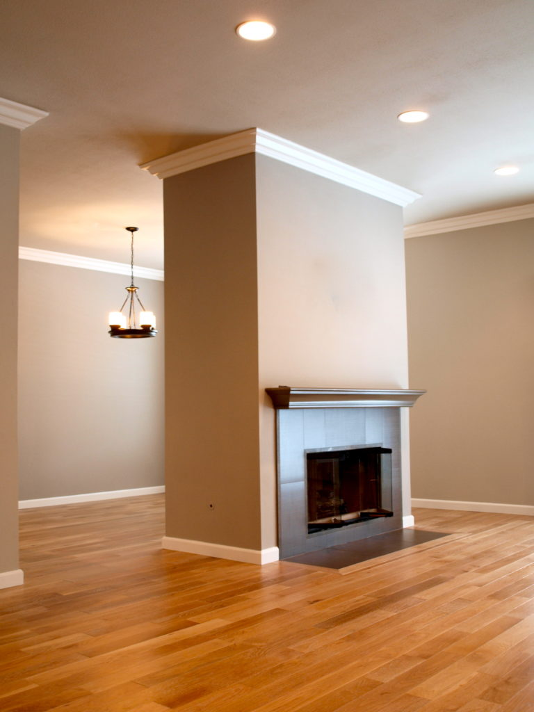 Large open space with monolith style fireplace.